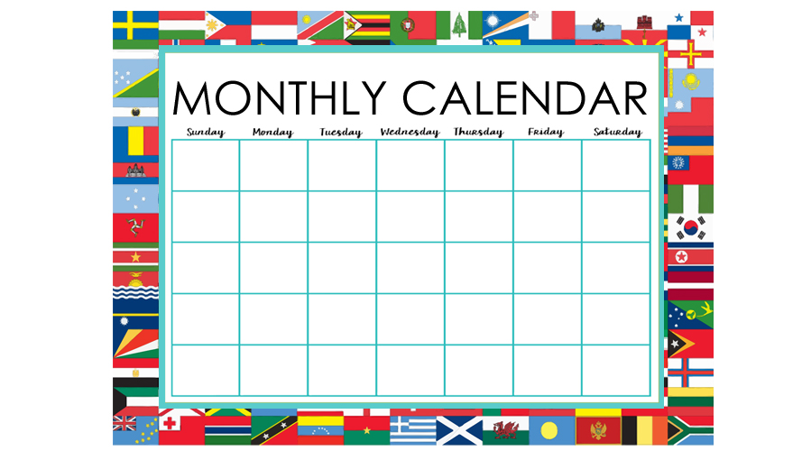 All Countries Monthly Calendar